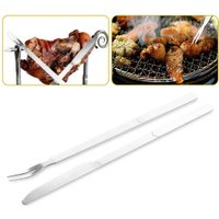 2Pcs/set Stainless Steel BBQ Utensils Knife Fork Portable Outdoor Camping Barbecue Grilling Tools Set Kitchen Accessories