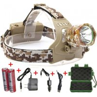 ESAMACT XML T6 LED Headlight 3-Mode Rechargeable Headlight Head Torch Lamp Camping Hunting With 18650 Battery - Camouflage
